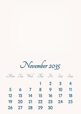 November 2035 // 2019 to 2046 // VIP Calendar // Basic Color // English