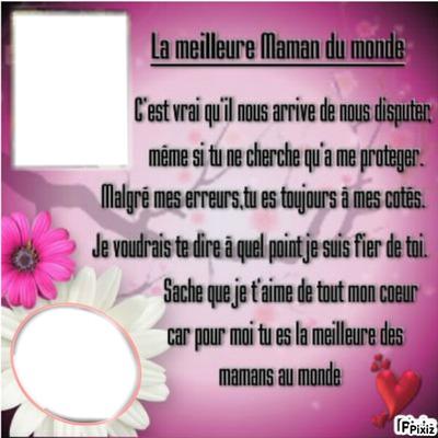 Montaje Fotografico Poeme De La Meillleure Maman Du Monde
