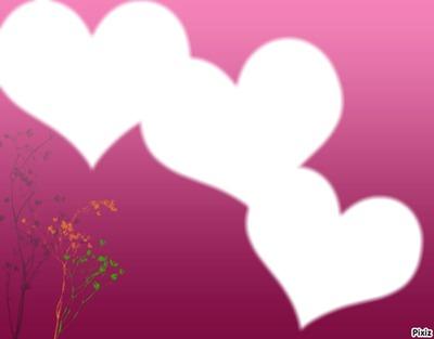 3 coeurs sur fond rose