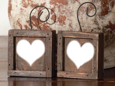 deux cadres coeurs bois