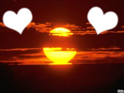 deux coeur au couchez de soleil