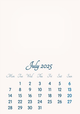 July 2025 // 2019 to 2046 // VIP Calendar // Basic Color // English