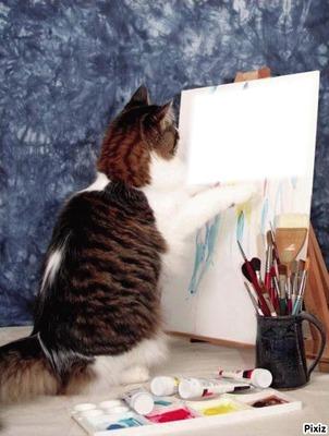 """Résultat de recherche d'images pour """"chat qui peint"""""""