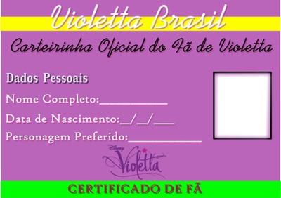 Carteirinha de Fã de Violetta