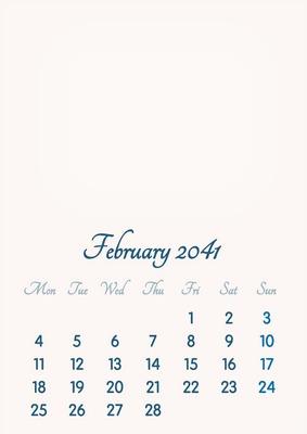 February 2041 // 2019 to 2046 // VIP Calendar // Basic Color // English