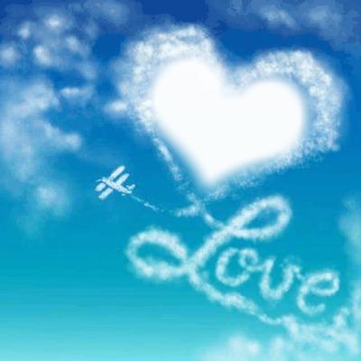 love Herz You in den Wolken