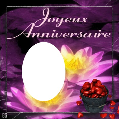 cadre joyeux anniversaire fleuri 1p