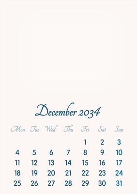 December 2034 // 2019 to 2046 // VIP Calendar // Basic Color // English