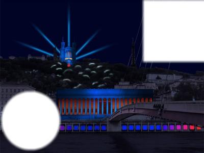 ville de Lyon dans la nuit