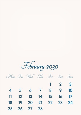 February 2030 // 2019 to 2046 // VIP Calendar // Basic Color // English