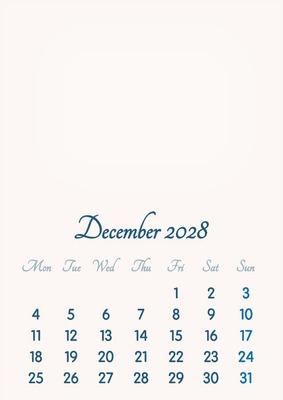 December 2028 // 2019 to 2046 // VIP Calendar // Basic Color // English