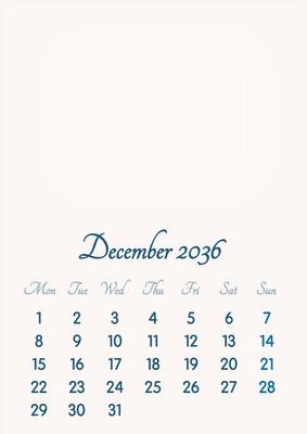 December 2036 // 2019 to 2046 // VIP Calendar // Basic Color // English