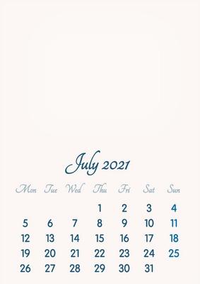 July 2021 // 2019 to 2046 // VIP Calendar // Basic Color // English