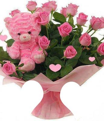 bouquet de roses rose avec ours rose 2 photos