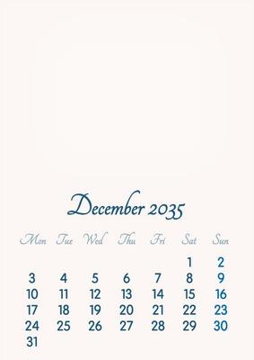 December 2035 // 2019 to 2046 // VIP Calendar // Basic Color // English