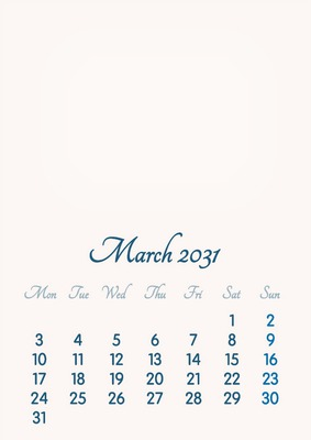 March 2031 // 2019 to 2046 // VIP Calendar // Basic Color // English