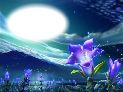 Montage photo Fleur mauve-clair de lune - Pixiz