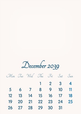 December 2039 // 2019 to 2046 // VIP Calendar // Basic Color // English