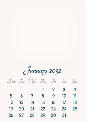 January 2032 // 2019 to 2046 // VIP Calendar // Basic Color // English