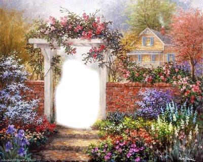 Photo montage jardin fleuri - Pixiz