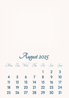 August 2025 // 2019 to 2046 // VIP Calendar // Basic Color // English