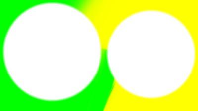 Vert et Jaune cadre rond 2 photos