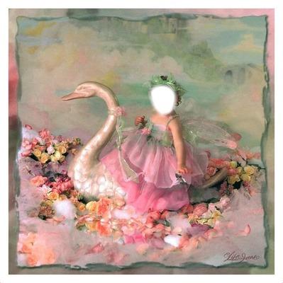 fille au cygne fleuri