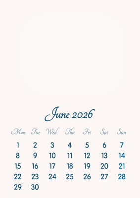 June 2026 // 2019 to 2046 // VIP Calendar // Basic Color // English