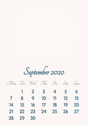 September 2020 // 2019 to 2046 // VIP Calendar // Basic Color // English