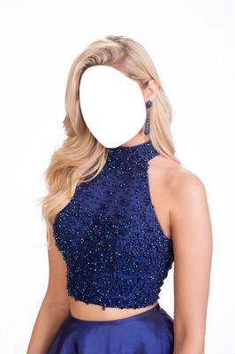 Dark Blue Dress Girl