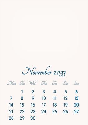 November 2033 // 2019 to 2046 // VIP Calendar // Basic Color // English