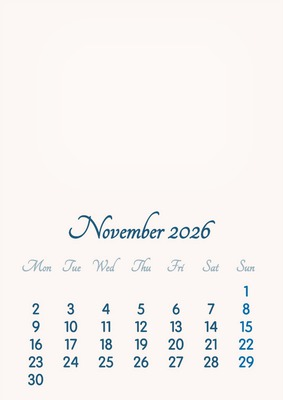 November 2026 // 2019 to 2046 // VIP Calendar // Basic Color // English