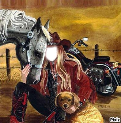cheval moto fille