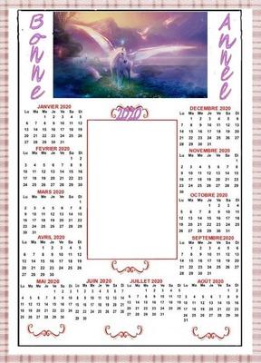 """calendrier """"licorne"""" 2020"""