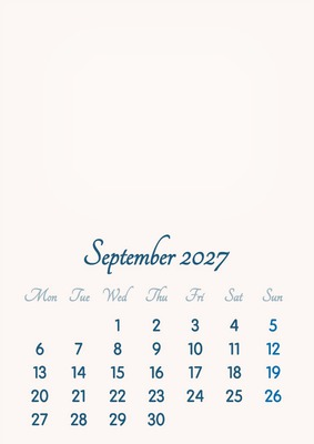 September 2027 // 2019 to 2046 // VIP Calendar // Basic Color // English