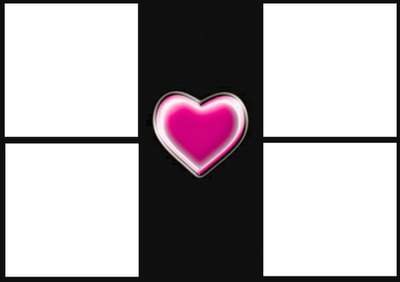 1 cadre avec 1 coeur 4 photos