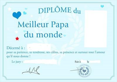 Montage photo dipl me du meilleur papa du monde pixiz - Diplome du super papa a imprimer gratuit ...