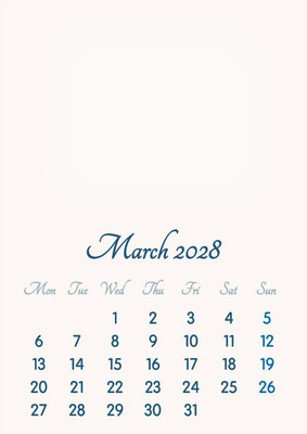 March 2028 // 2019 to 2046 // VIP Calendar // Basic Color // English