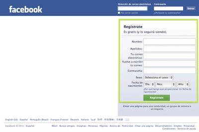 Facebook Página de Inicio