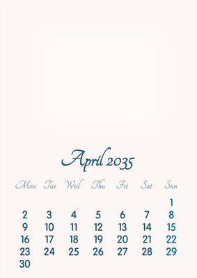 April 2035 // 2019 to 2046 // VIP Calendar // Basic Color // English