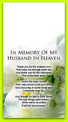 IN MEMORY OF MY HUSBAND
