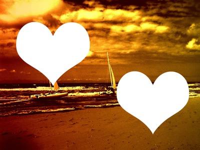 plage dorée deux coeurs