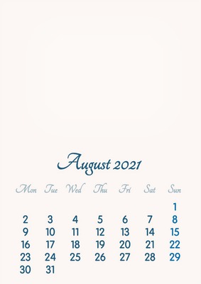 August 2021 // 2019 to 2046 // VIP Calendar // Basic Color // English