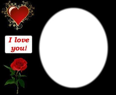 Montase Foto I Love You Heart Rose Pixiz