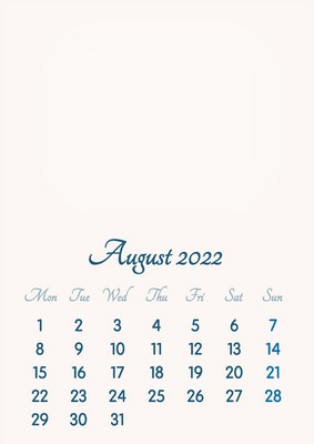 August 2022 // 2019 to 2046 // VIP Calendar // Basic Color // English
