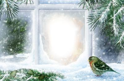 fenêtre hiver noel