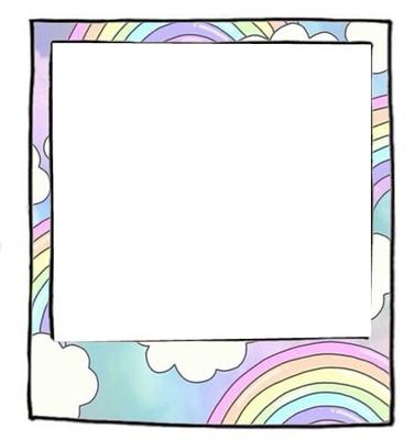 Cadre polaroïd arc-en-ciel pastel