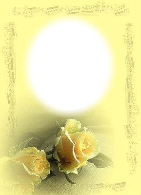 Fleurs-roses jaunes-notes de musique