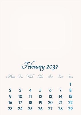 February 2032 // 2019 to 2046 // VIP Calendar // Basic Color // English