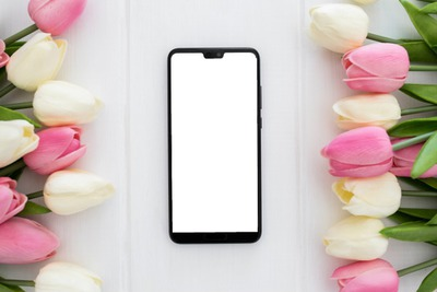 Cell phone and flowers